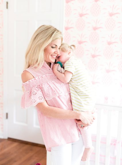 Pink Striped Ruffle Cold Shoulder Top