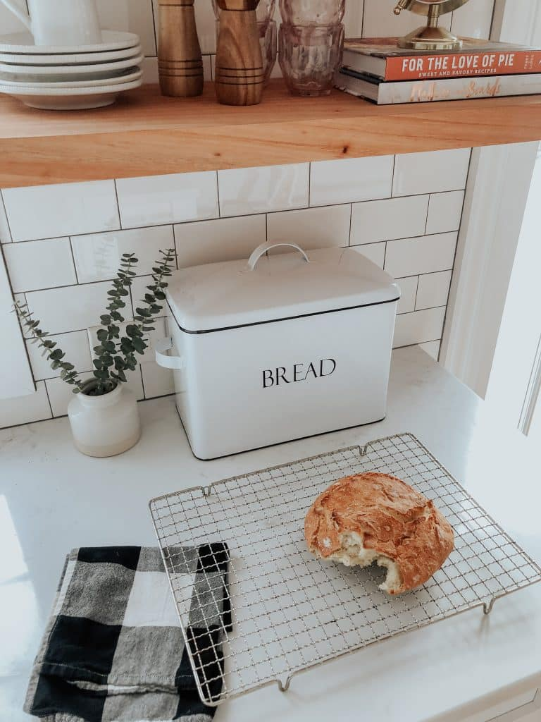 Life & Style blogger, Liz Joy, shares her Homemade Rustic Bread recipe. SO delicious with a crunchy crust and airy center and best of all so easy to make.